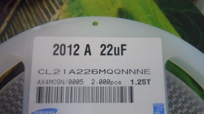 进口三星贴片电容 0805 22UF M 6.3V CL21A226MQQNNNE