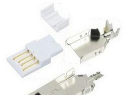 供应usb连接器A公直板焊线4件 铁壳胶芯加盖子