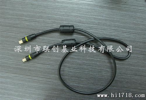 1米雙磁環電視射頻線 音頻線 機頂盒連接線 有線閉路線 鍍金