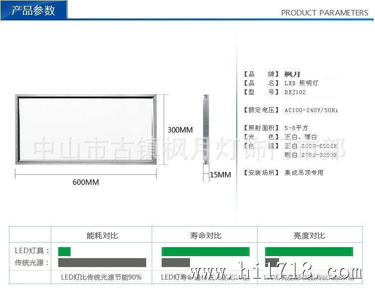 厂家直销led集成吊顶面板灯平板灯节能模块灯具300*