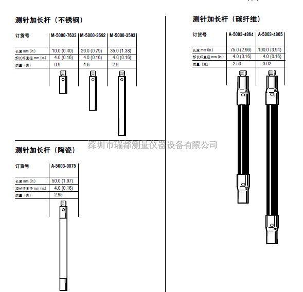 m3螺纹不锈钢测针加长杆M-5000-3593 m3*35mm加长杆