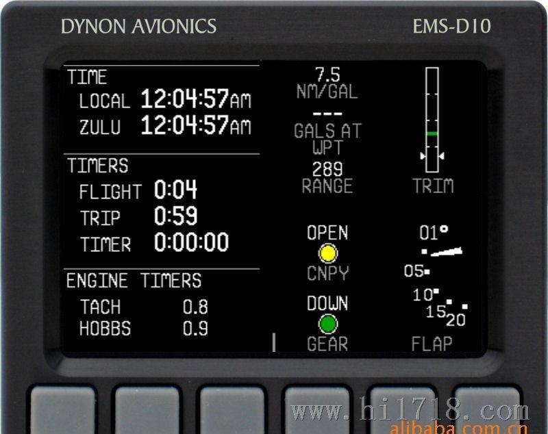 产品名称:EMS-D10产品类别:美国Dynon原产发动机监控系统产品信息:Dynon提供一款符合人体工程学的发动机监控系统(EMS),它在新的数字技术中融合了传统的模拟仪表表现形式。EMS-D10代替多达16个不同类型的仪表...