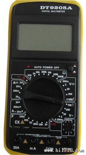 dt9205a, dt-9205, 数字万用表带过载保护电路