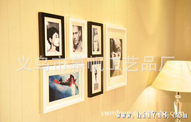 【照片墙安装模板图纸】k0601简约6框照片相框像架组合创意墙实木