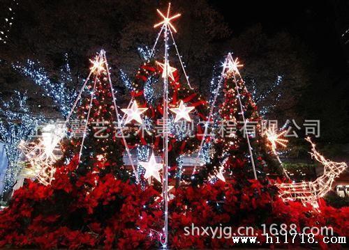 沈阳大型圣诞树安装/超豪华松针藤条装饰酒店商场