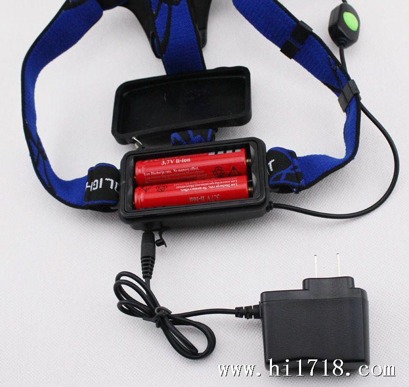 猎虎头灯cree led充电 大功率伸缩变焦铝合金锂电池头灯 自行车灯