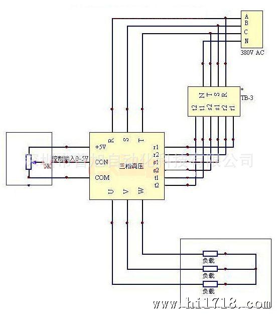 该产品与tb-3(同步变压器)配合使用,控制三只固态继电器,等价三相