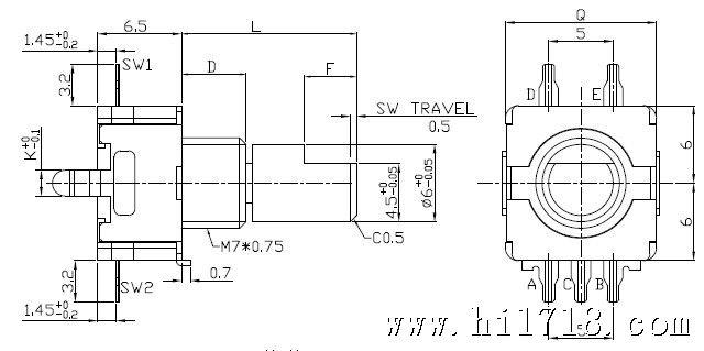 相关参数详见如下: 输出类型:增量型 脉冲数/定位数:11型:9/18;15/30;15/00;20/20;20/00; 轴摇晃度:0.7*L/30mm p-p Max(L指安装平面到轴的柄端的距离) 全回转角度:360度 回转力矩:3-24mN.m(30-240gf.cm) 轴推拉强度:80-100N(8-10kgf)Max. 开关作用力:RE11:5+2.
